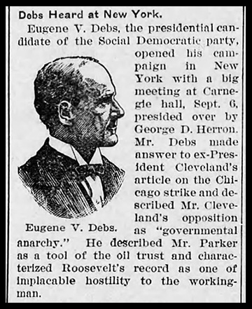 Eugene V. Debs opens up campaign in New York City with speech at