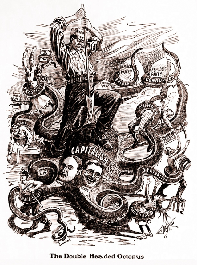 """The Double Headed Octopus"" — Socialist 1904 political ca"