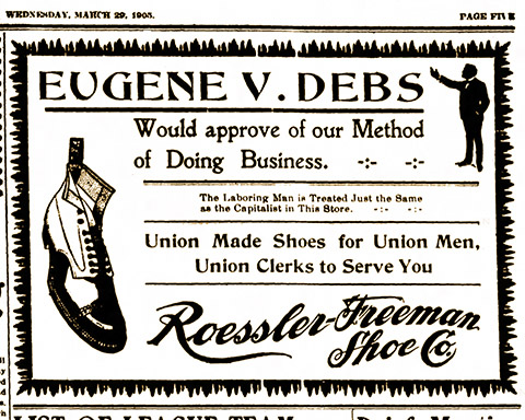 Shoe store ad cashing in on visit of Eugene V. Debs to speak at